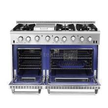 THOR KITCHEN 48  6 BURNER GAS RANGE STAINLESS STEEL W DOUBLE OVEN
