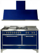 Ilve Majestic Pro 60  Dual Fuel Gas Range Oven Griddle French Top   Hood 2pc Set