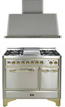 Ilve 40  Majestic Dual Fuel Gas Range Double Oven Stainless Steel  Hood 2pc Set