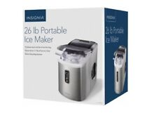 Insignia 26 Lb Portable Ice Cube Maker Stainless Steel NS IMP26SS7   NEW SEALED