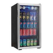 Danby Stainless Steel 120 Can Beverage Center Refrigerator 3 3 cu  ft  Bar Black