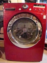 LG WM2301H Wild Cherry Red Front Load Washer   Works Now But Will Need A Part