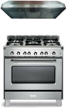 Verona Classic VCLFSGG365SS 36  Pro Style All Gas Range Oven 2Pc Kitchen Package