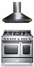 Verona Classic 36  All Gas Range Double Oven Stainless Steel Hood 2 Pc Set