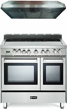 Verona VEFSEE365DSS 36  Electric Double Oven Range Stainless 2pc Kitchen Package