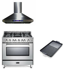 Verona 36  Pro Style Single Oven All Gas Range Stainless   Hood  Griddle 3pc Set