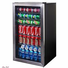 Glass Beverage Cooler Cold Portable Small Black Steel Bar Refrigerator Appliance