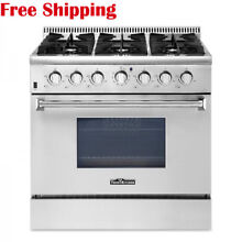 Thor Kitchen 36  Gas Range With 5 2 cu ft oven 6 Burners Stainless Steel Silver