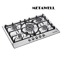METAWELL 30  Stainless Steel 5 Burner Cooktops Built In Stoves NG LPG Gas Hob