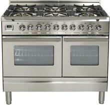 Ilve UPDW1006DMPI Pro Series 40  Dual Fuel Gas Range Double Oven Stainless Steel