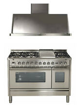 Ilve UPW120FDMPI Pro 48  Dual Fuel Gas Range Double Oven Hood 2pc Package