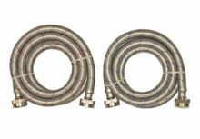2 Pack 6 ft 3 4inch Hose Thread Inlet Outlet Stainless Washing Machine Connector