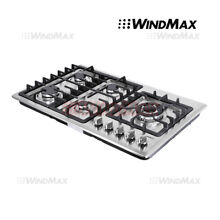 34inch Built in 5 Burner Gas Hob Cooktop with Stainless Steel Silver