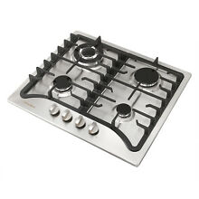 23  Stainless Steel 4 Burner Built In Stove Cooktop Kitchen Silver US Seller