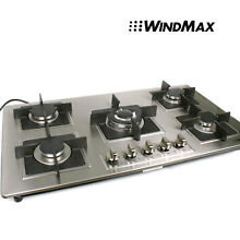 US Seller  35 5  Stainless Steel Built in 5 Burners Gas Cooktop Gas Hob Kitchen