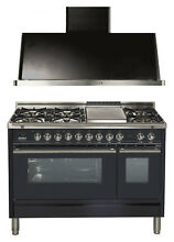 Ilve UPW120FDMPM Pro Series 48  DualFuel Gas Range Double Oven Hood 2pc Package
