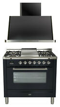 Ilve UPW90FDMPM Pro Series 36  Dual Fuel Range Oven Griddle Hood 2pc Kitchen Set