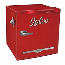 NEW Igloo FR176 RED 1 6 cu  ft  Retro Bar Fridge with Side Bottle Opener  Red