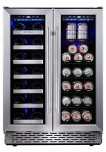 Phiestina Built In Dual Zone Wine and Beverage Cooler with Stainless Steel Door