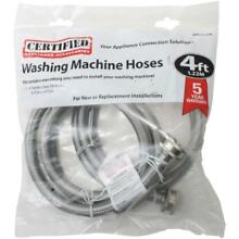 CERTIFIED APPLIANCE WM48SS2PK Braided Washing Machine Connector Hoses   4ft  x 2