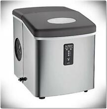 Portable Counter Top Ice Maker Over Sized Bucket Stainless Steel 3 Cube Sizes