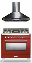 Verona Classic VCLFSGG365R 36  Pro Style All Gas Range Oven Hood 2pc Package
