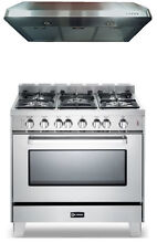 Verona VEFSGG365NSS VEPL620 36  Pro Style Gas Range Oven 2 Pc Kitchen Package