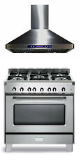 Verona Classic VCLFSGG365SS 36  Pro Style All Gas Range Oven With Hood 2Pc Set