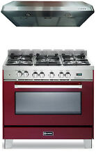 Verona VEFSGE365BU VEPL620 36  Pro Style Dual Fuel Gas Range Oven 2pc Package
