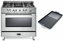 Verona VEFSGE365NSS 36  Pro Style Dual Fuel Gas Range Stainless 2pc Package