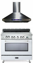 Verona VEFSEE365W 36  Electric Range Single Oven With Hood True White 2pc Set