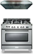 Verona Classic VCLFSGE365SS 36  Pro Style Dual Fuel Gas Range Stainless Package