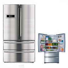 SMAD 4 Door French Door Counter Depth Refrigerator Auto IceMaker Stainless Steel