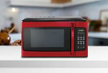 Stainless Steel Digital Microwave Oven 1000W Child Lock Hamilton Beach Red