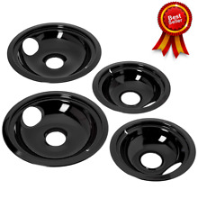 GE Hotpoint Porcelain Stove Drip Pans Black Electric Stove Burner Top Covers Set