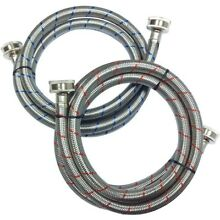 Washing Machine Hose  Stainless Steel Braid  3 4 in  x 3 4 in  x 5 ft   2 Pack