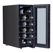 Home Bar Mini 12 Bottle Standing Thermoelectric Wine Cooler Glasses Storage US