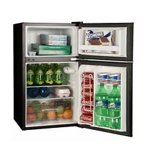 Black 3 2 cu ft 2 Door Refrigerator  Separate freezer 2 glass shelves crisper