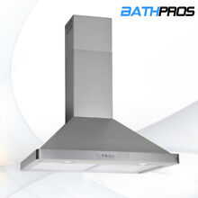 Electronic Switch Kitchen Range Hood Stove 30  Stainless Steel Wall Mount 190W