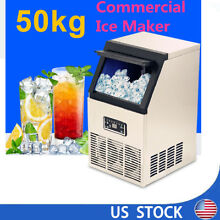 Auto Commercial Ice Cube Maker Machine Stainless Steel Restaurant Bar US Plug