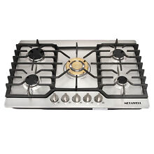 30  Kitchen Stainless Steel Built in 5 Burner Stoves Cooktops    Gold Wok Burner