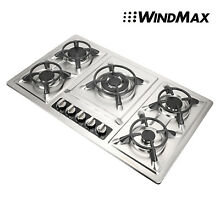 Windmax 34  Stainless Steel  5 Burner Built In Stoves Gas Cooktop   Iron Frame