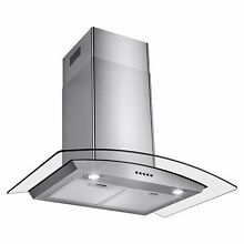30 Inch Convertible Wall Mount Tempered Glass Range Hood Stainless Steel W  LEDs