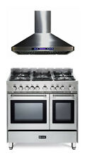 Verona VEFSGG365NDSS 36  Pro Style All Gas Range Double Oven Stainless Hood  Set