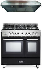 Verona VEFSGE365NDE 36  Pro Style Dual Fuel Gas Double Oven Range Hood Package