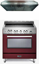 Verona VEFSEE365BU 36  Electric Range Single Oven 2 pc Kitchen Package Burgundy