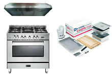 Verona VEFSGE365NSS 36  Pro Style Dual Fuel Gas Range Oven 3 pc Kitchen Package