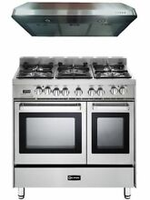 Verona VEFSGE365NDSS 36  Pro Style Dual Fuel Range Oven Stainless Hood Package