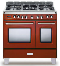 Verona Classic VCLFSGE365DR 36  Pro Style Dual Fuel Gas Range Oven Gloss Red