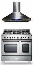 Verona Classic 36  All Gas Range Double Oven Stainless Steel Hood Package